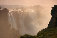 The awesome Victoria Falls, seen from the Zimbabwe side