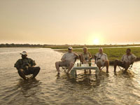 True relaxation at Zambezi Expeditions Camp along the Zambezi River in Mana Pools, Zimbabwe