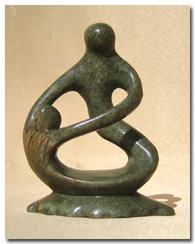 Mother and Child Soapstone Carving