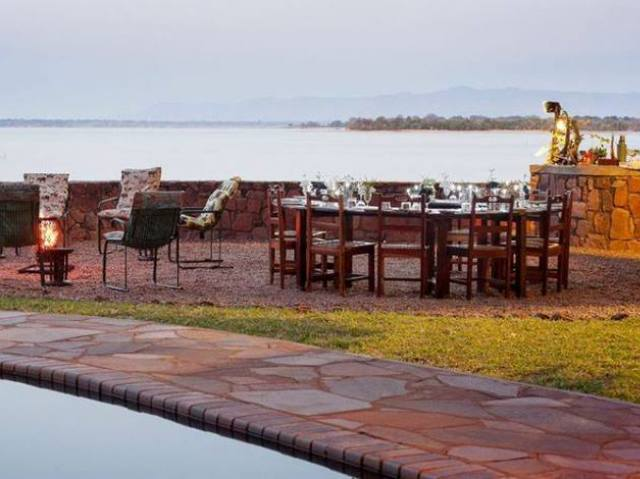 Poolside at Musango Island Camp, Lake Kariba