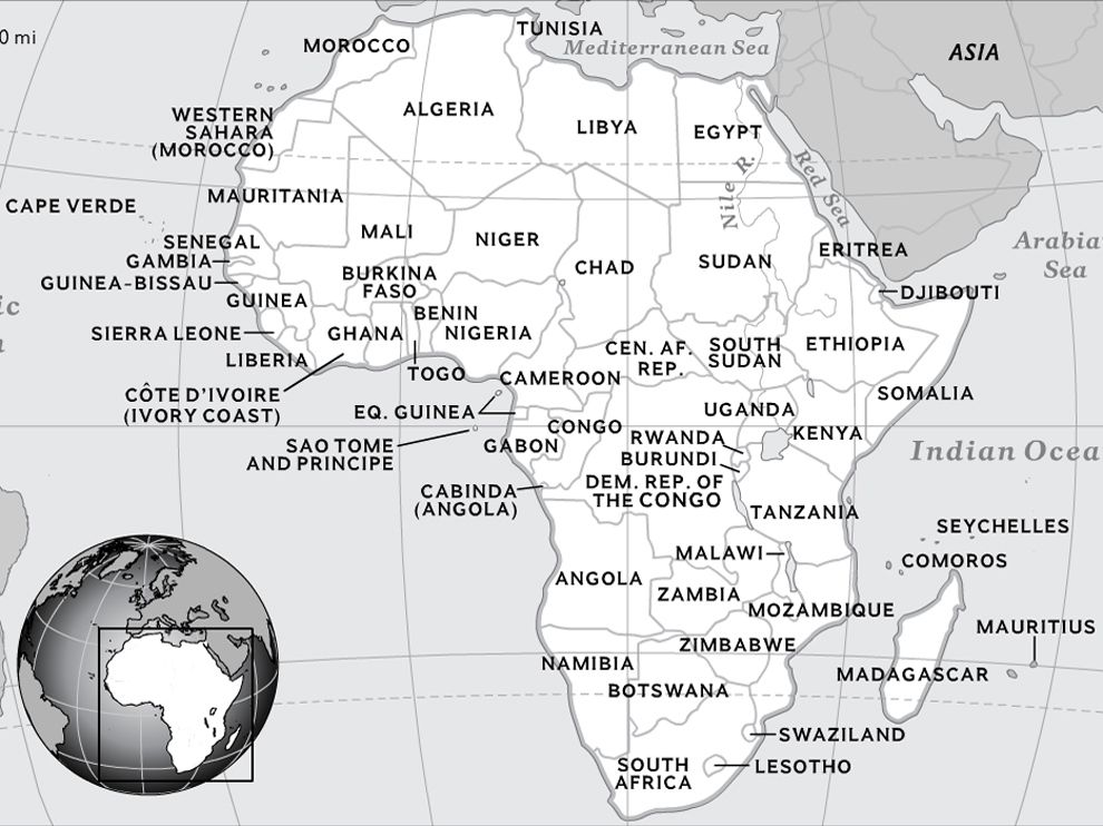 Map Of Africa Showing Zimbabwe.Map Of Africa