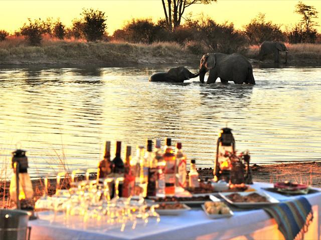 Elephants playing at Nehimba Pan, Hwange National Park - Zimbabwe