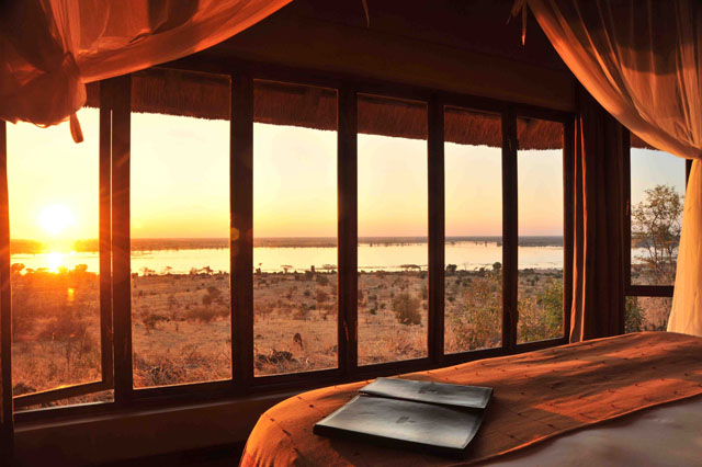 Catch amazing sunsets from your room at Ngoma Safari Lodge in Botswana
