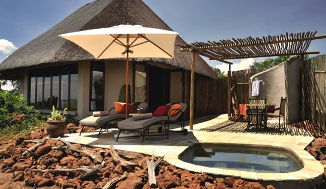View of the front of a Ngoma Safari Lodge unit - facing the Chobe flood plains
