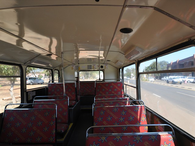 The lower deck of the tour bus