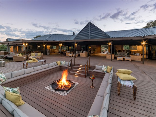 Main guest area with firepit