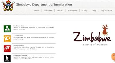 Zimbabwe Immigration website