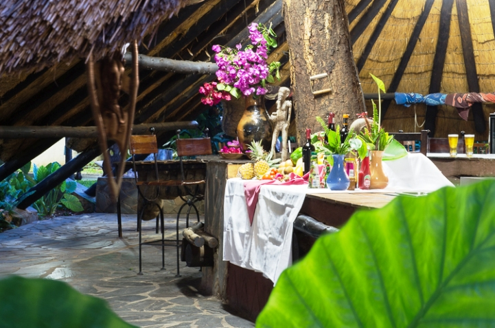 Inside the thatched restaurant