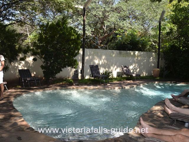 The swimming pool at Pamusha Lodge