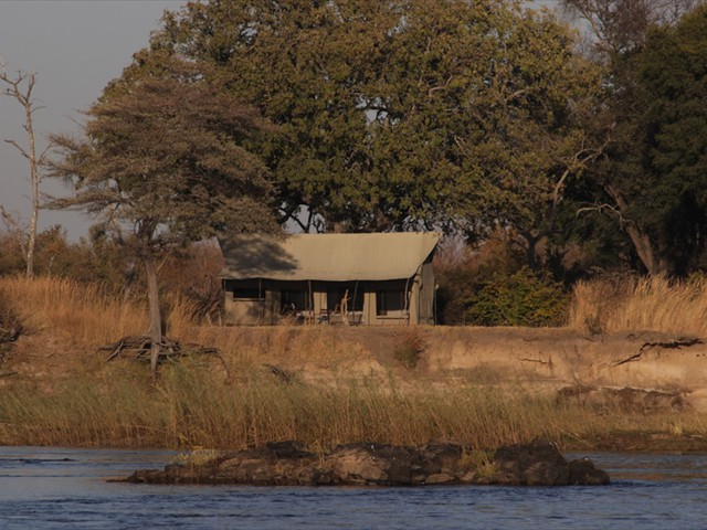 Front view of a room right by the Zambezi River