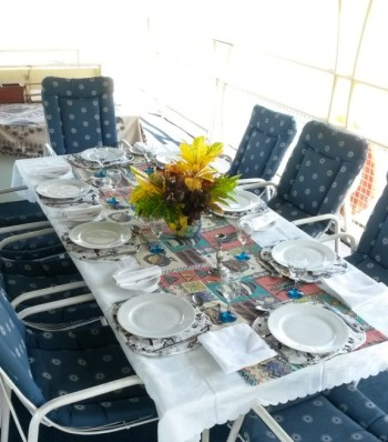 The dining area on The Ponty Houseboat