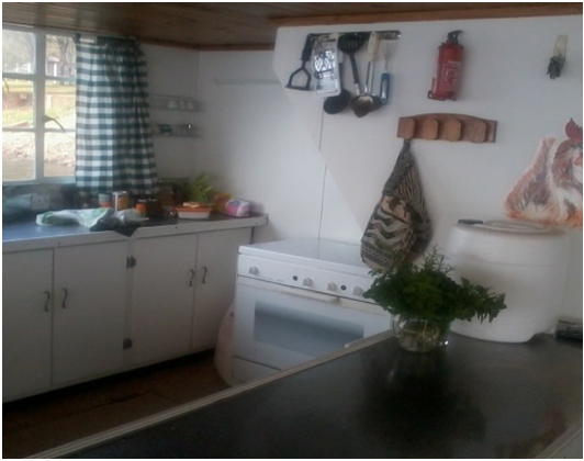 Inside the kitchen on The Ponty Houseboat - Zimbabwe
