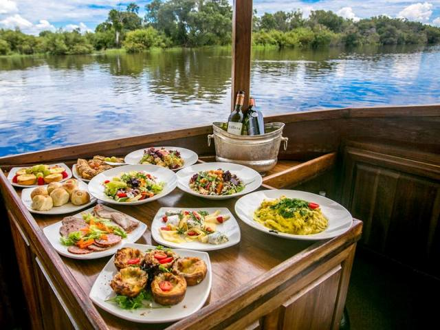 Lunch spread on the afternoon Ra Ikane cruise Zambezi River, Victoria Falls, Zimbabwe
