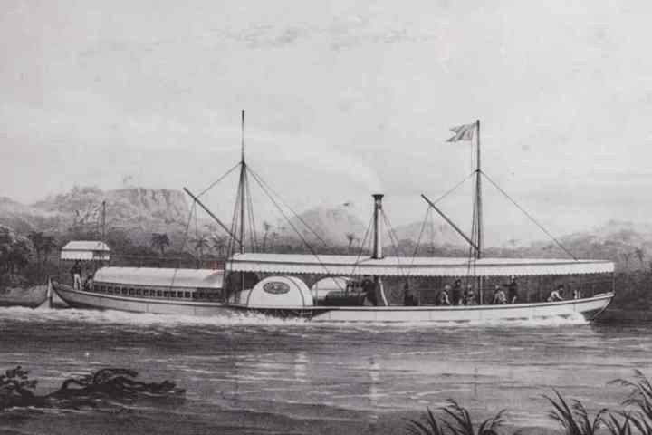 The 'Ma Robert' steam boat on which David Livingstone attempted an upstream trip of the Zambezi River