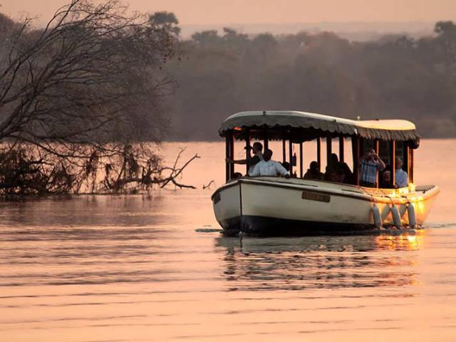 Ra Ikane sunset cruise on the Zambezi River, above the Victoria Falls