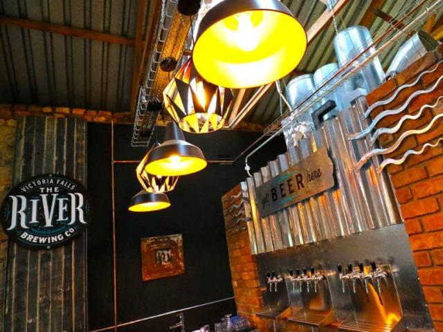 The bar at the River Brewing Co, Victoria Falls, Zimbabwe