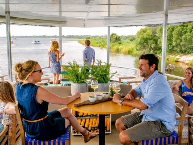 Luxurious setting aboard the Riversong boat on the Zambezi River - Victoria Falls, Zimbabwe