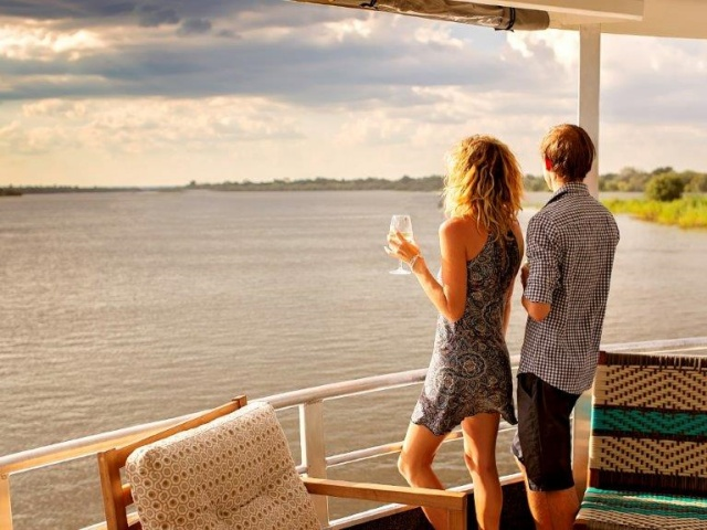 Taking in the scenery on the Zambezi River aboard the Riversong boat in Victoria Falls, Zimbabwe