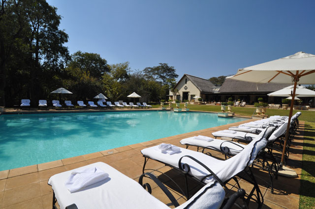 The pool at Royal Livingstone Hotel, Victoria Falls, Zambia