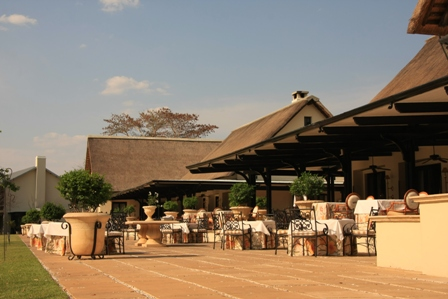 The restaurant and terrace at the Royal Livingstone Hotel - Zambia