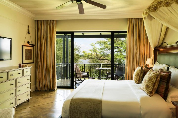 Luxurious rooms at the Royal Livingstone Hotel next to Victoria Falls