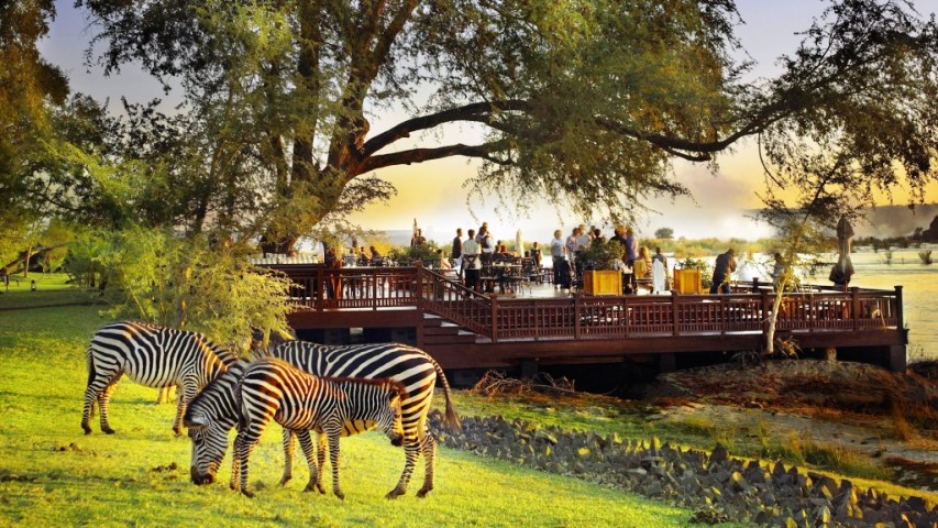 The deck by the Zambezi River at Royal Livingstone Hotel