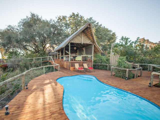 Pool area at Rra Dinare Camp, Okavango Delta, Botswana