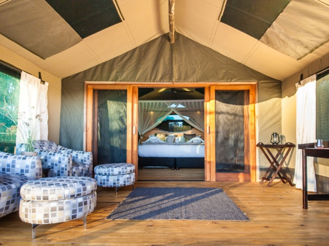 Comfortable tented room at Rra Dinare Camp, Okavango Delta, Botswana