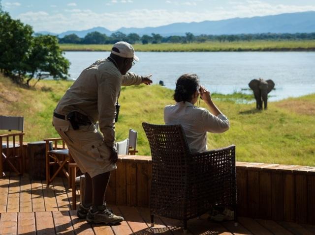 Safari on the deck at Ruckomechi Camp, Mana Pools, Zimbabwe