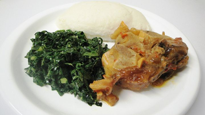 African culture: Sadza (pap) with beef nuckle bone stew - made in Zimbabwe
