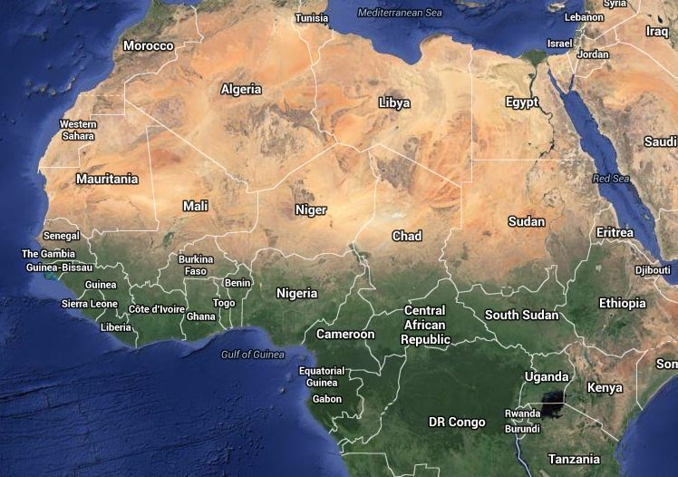 The extent of the Sahara Desert across Africa