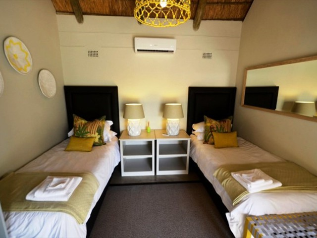 Inside a twin chalet at Explorers Village in Victoria Falls, Zimbabwe