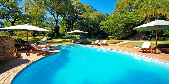 The swimming pool at Stanley & Livingstone Hotel, Victoria Falls - Zimbabwe