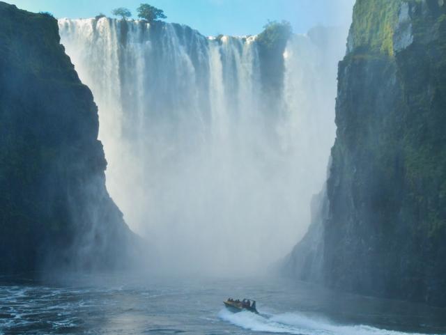 Jet boat going towards the Victoria Falls, Zambezi River