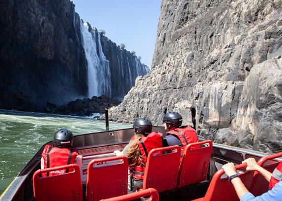 Victoria Falls jet boat going towards the Victoria Falls