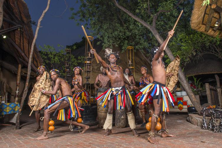 Leg rattles - magavhu. Worn during traditional Zimbabwean performance at The Boma in Victoria Falls, Zimbabwe