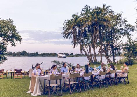 Zambezi River front dining experience near Victoria Falls, Zimbabwe