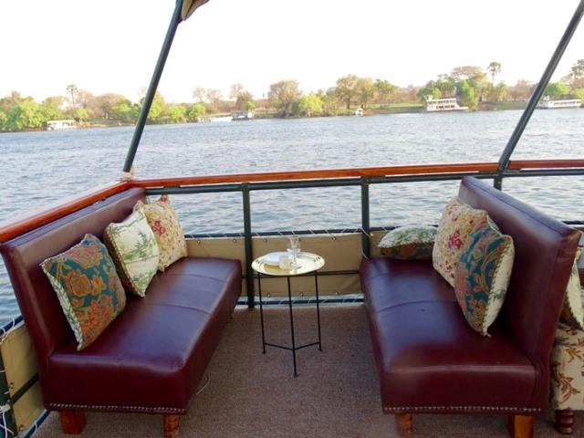 Comfortable seating aboard The Victoria, Zambezi river cruises, Victoria Falls, Zimbabwe