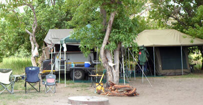 Campsites in the east of the delta