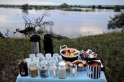 Breakfast by the Zambezi river, Victoria Falls, Zimbabwe