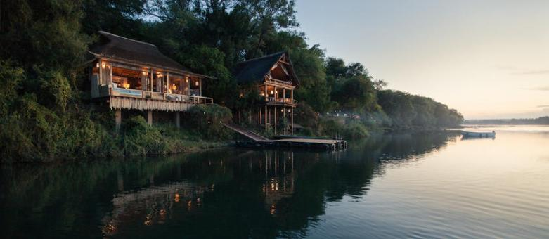 The jetty at Tongabezi Lodge