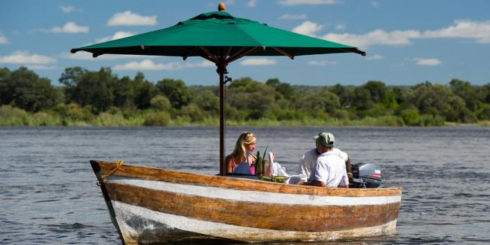 A private river cruise on the Zambezi