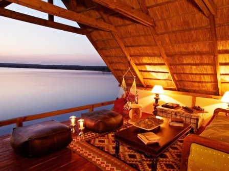 The lookout at Tongabezi Lodge - Victoria Falls, Livingstone, Zambia