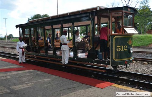 The old Victoria Falls tram picking up guests