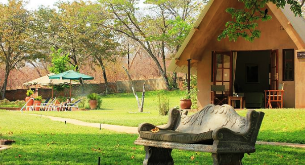 The front of a chalet at Ursula's Camp - Victoria Falls, Zimbabwe