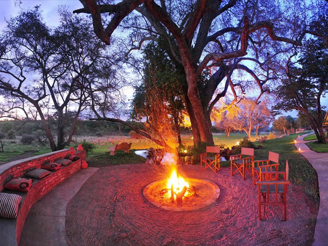 Camp fire at Ursula's Homestead near Victoria Falls, Zimbabwe