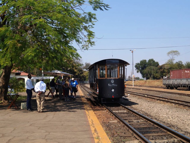 The Victoria Falls Tram at the station waiting to set off