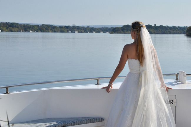 Romantic cruise wedding aboard the Zambezi Explorer in Victoria Falls
