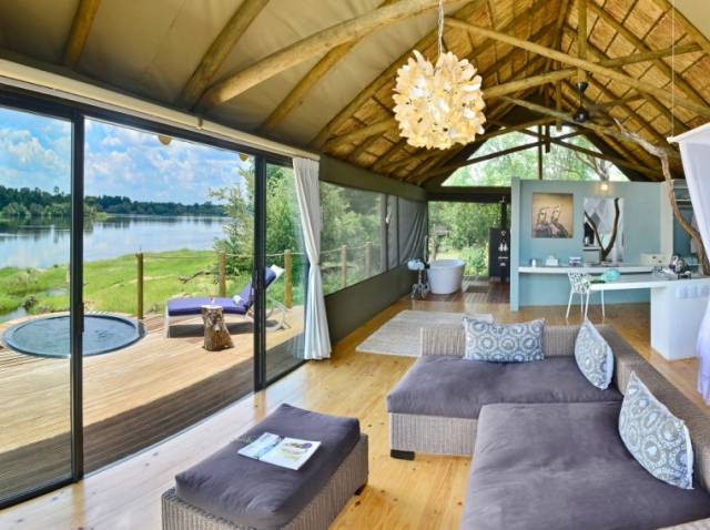Luxurious river-facing rooms with private deck and plunge pool at Victoria Falls River Lodge, Zambezi National Park near Victoria Falls, Zimbabwe