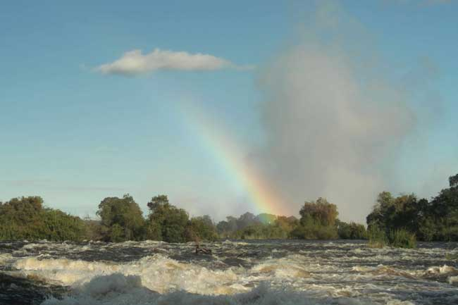 Rainbow in the spray from the Victoria Falls